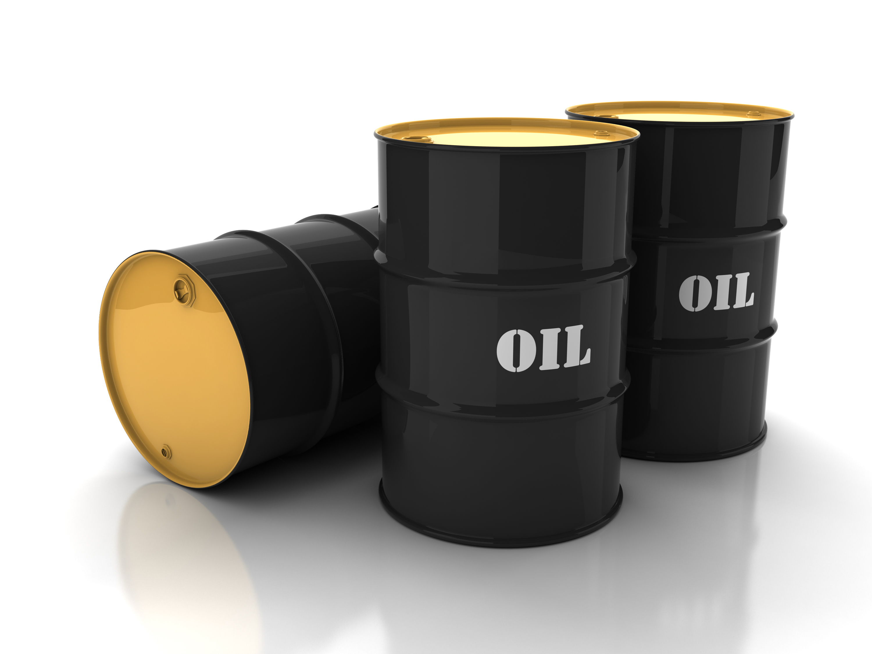 Black-oil-barrels-with-mark-on-white-background